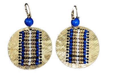 Royal Beaded Disk Earrings