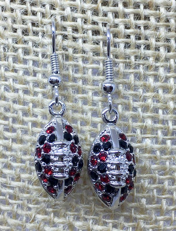 Red And Black Crystal Football Earrings