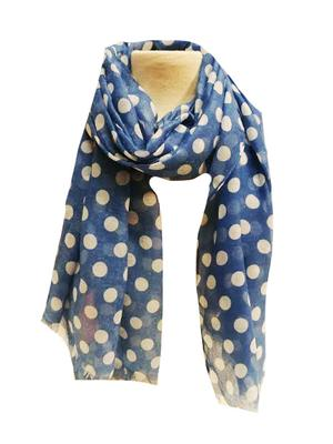 Blue and White Traditional Polka Dot Scarf