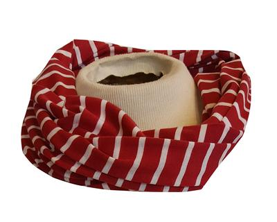 Crimson and White Striped Infinity Scarf