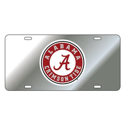 Alabama License Plate Silver/Red Circle Logo