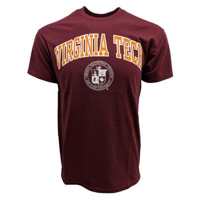 Virginia Tech Arch College Seal T-Shirt MAROON