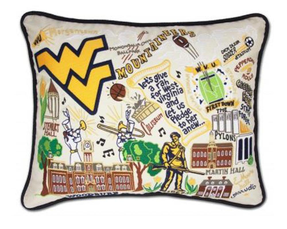West Virginia Hand Embroidered Pillow