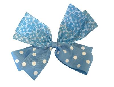 Light Blue And White Combo Dot Bow