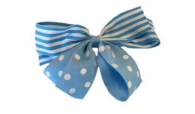 Light Blue And White Stripe Dot Bow