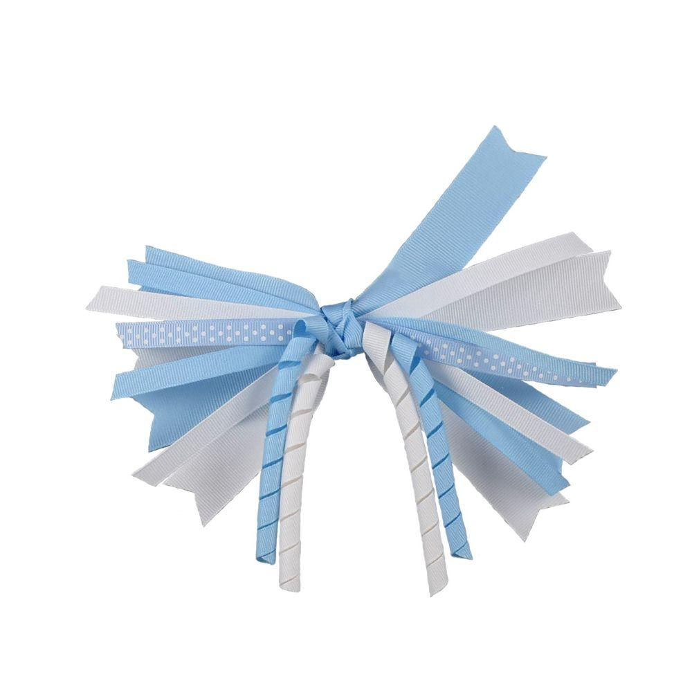 Light Blue And White Mix Up Ponytail Bow