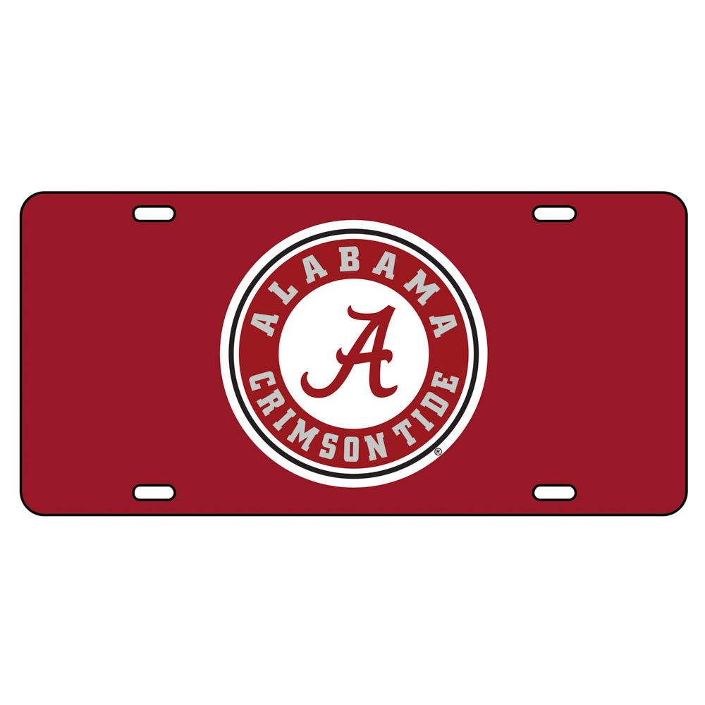 Alabama License Plate Crimson/White Circle Logo