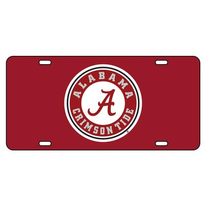 Alabama License Plate Crimson/White Circle Logo