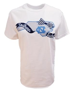 UNC Women's Ribbon And Bows State Logo Tee WHITE