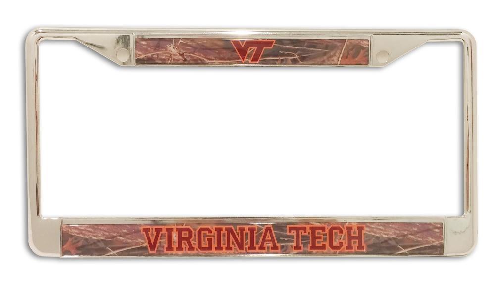 Virginia Tech Camo/Silver License Plate Frame