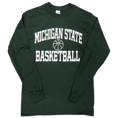 Michigan State Basic Basketball Long Sleeve Tee FOREST_GREEN