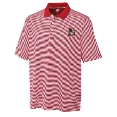 Arkansas Cutter And Buck Retro Logo Trevor Stripe Polo