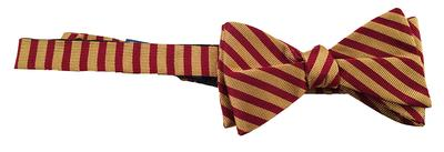 Garnet and Gold Pinstripe Bow Tie
