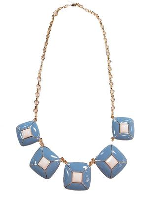 Light Blue And White Pyramid Necklace