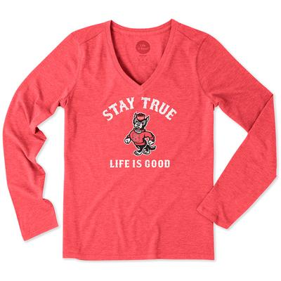 Life Is Good NC State Stay True Long Sleeve V-Neck Tee