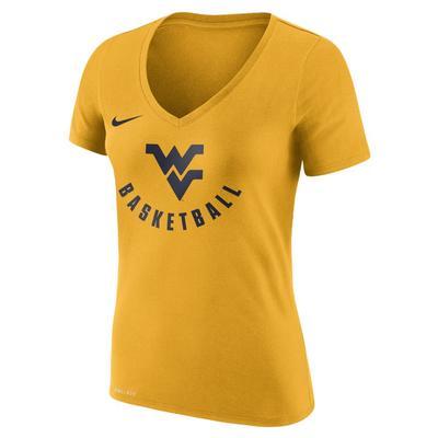 West Virginia Nike Women's Dri-Fit Cotton Short Sleeve Basketball Logo Tee UNIV_GOLD
