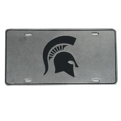 Michigan State Spartan Pewter License Plate