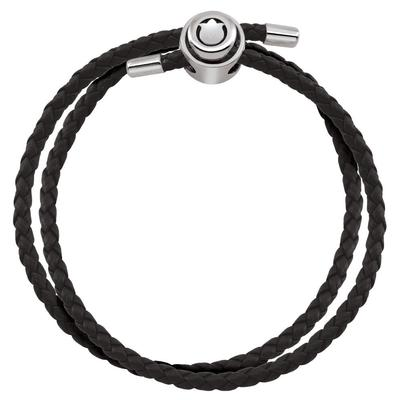 Double Wrap Black Leather Bracelet
