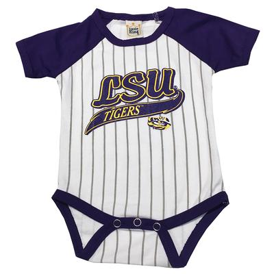 LSU Infant Baseball Stripe Romper