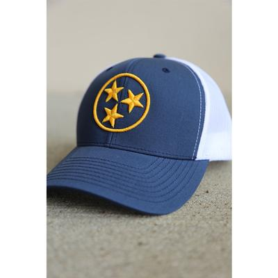 The Nash Collection Navy and Gold Tristar Adjustable Mesh Back Hat