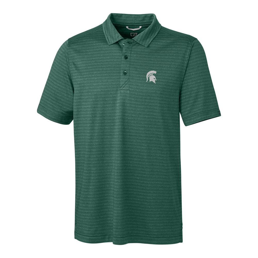 Michigan State Cutter & Buck Cascade Stripe Polo