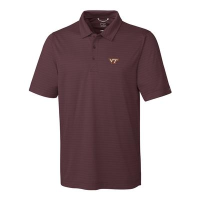 Virginia Tech Cutter & Buck Cascade Stripe Polo