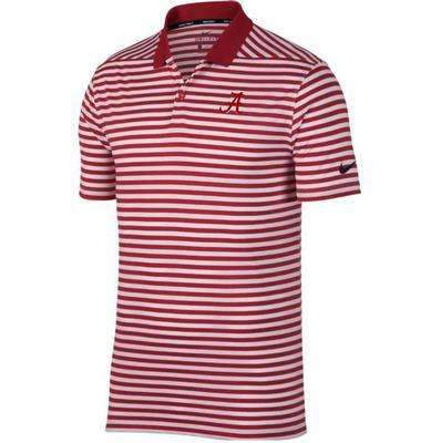 Alabama Nike Golf Dry Victory Stripe Polo CRIMSON