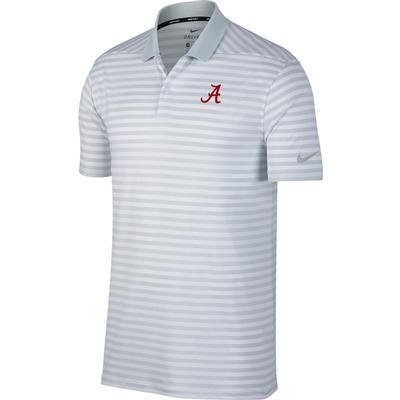 Alabama Nike Golf Dry Victory Stripe Polo PURE_PLATINUM