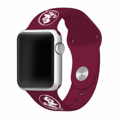 Florida State Seminole Head Apple Watch Silicone Sport Band 42mm