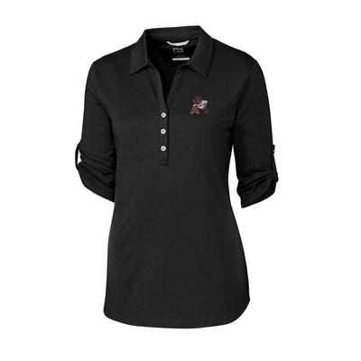 Arkansas Cutter & Buck Women's Thrive Roll Sleeve Vault Polo