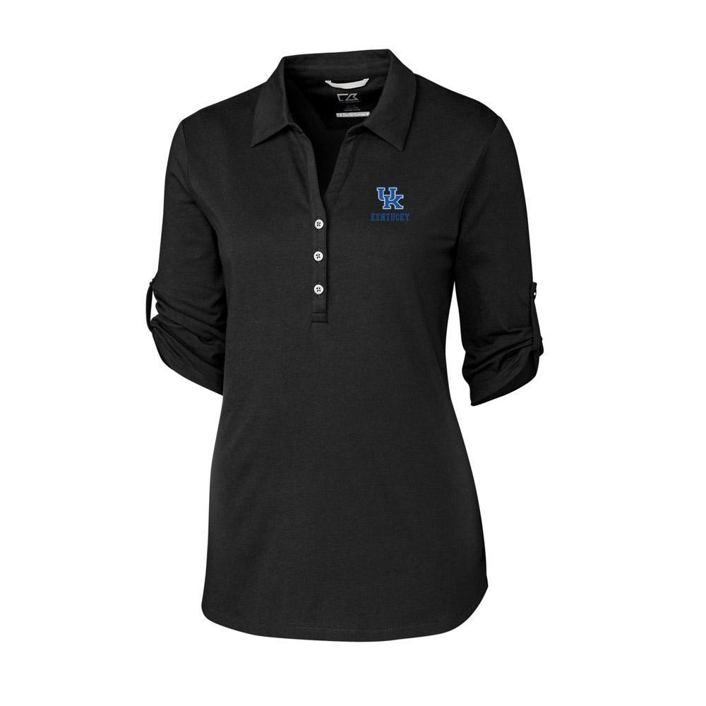 Kentucky Cutter & Buck Women's Thrive Roll Sleeve Polo