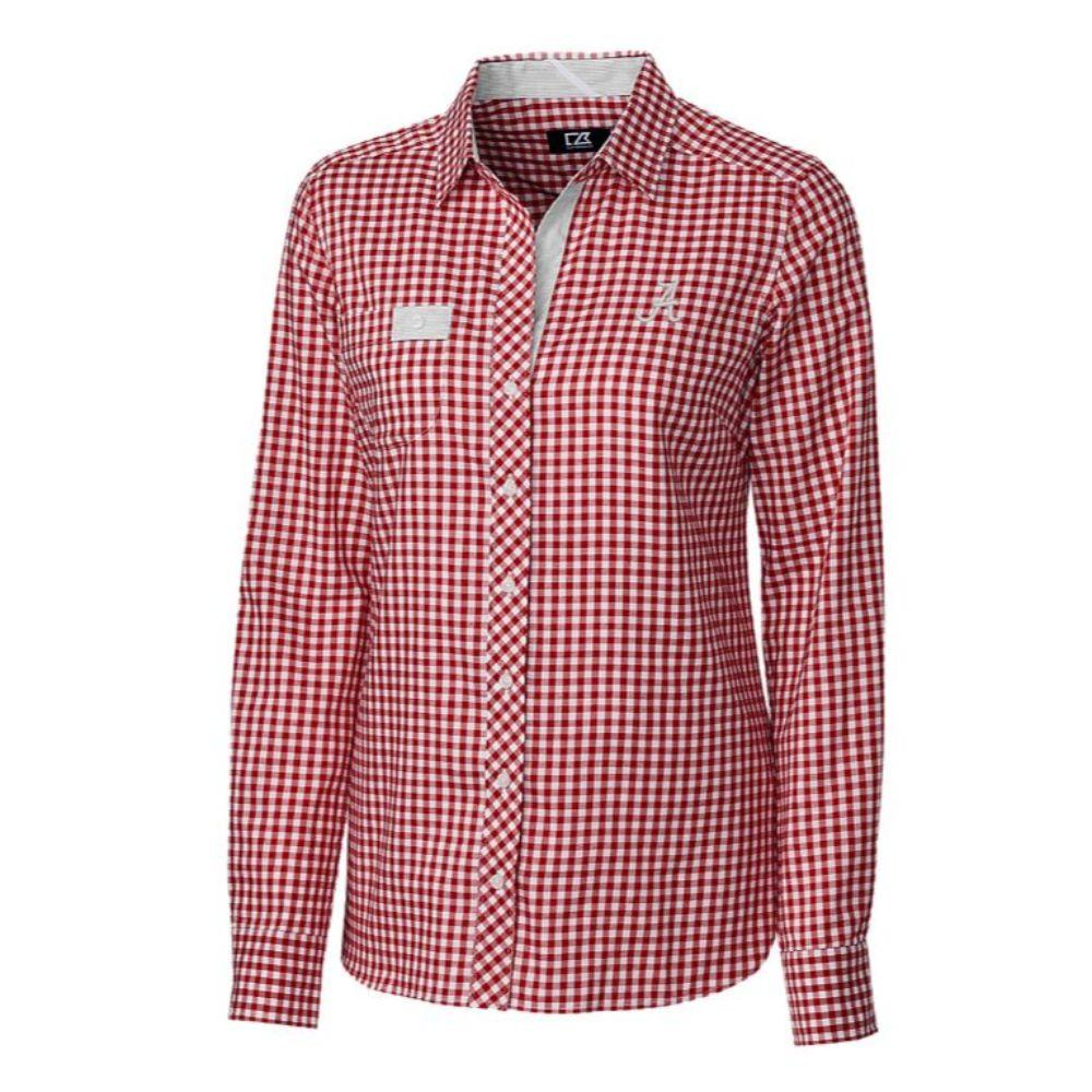 Alabama Cutter & Buck Women's Gingham Buttondown Shirt