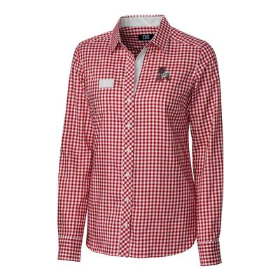 Arkansas Cutter & Buck Women's Long Sleeve Gingham Button Down Vault Logo Shirt
