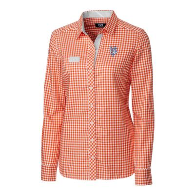 Florida Cutter & Buck Women's Gingham Buttondown Shirt COLL_ORANGE