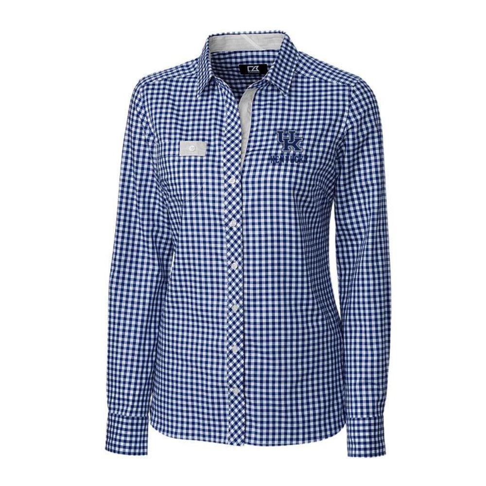 Kentucky Cutter & Buck Women's Gingham Buttondown Shirt