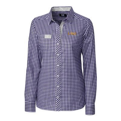 LSU Cutter & Buck Women's Gingham Buttondown Shirt