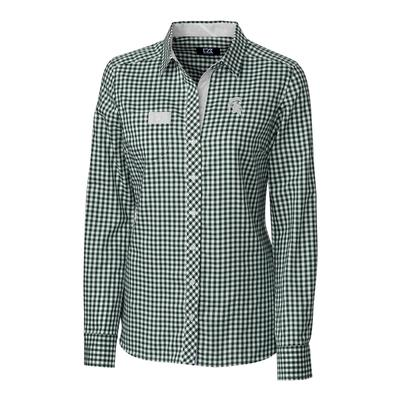 Michigan State Cutter & Buck Women's Gingham Buttondown Shirt