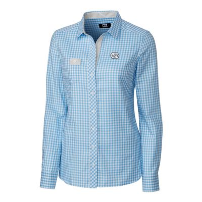 UNC Cutter & Buck Women's Gingham Buttondown Shirt