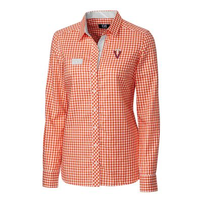 Virginia Tech Cutter & Buck Women's Long Sleeve Gingham Button Down Vault Logo Shirt