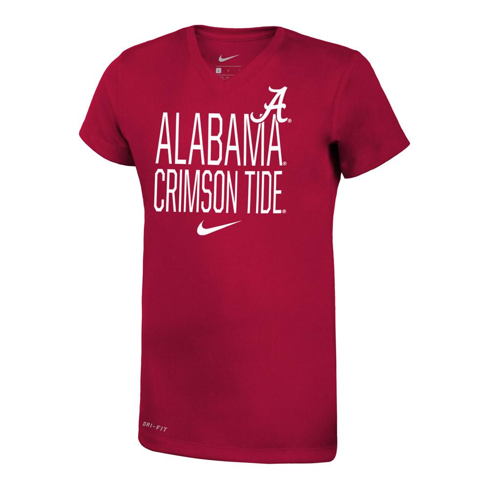 Alabama Nike Girls Dri- Fit Legend V Neck Short Sleeve Tee