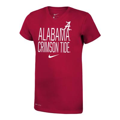 Alabama Nike Girls Dri-Fit Legend V Neck Short Sleeve Tee