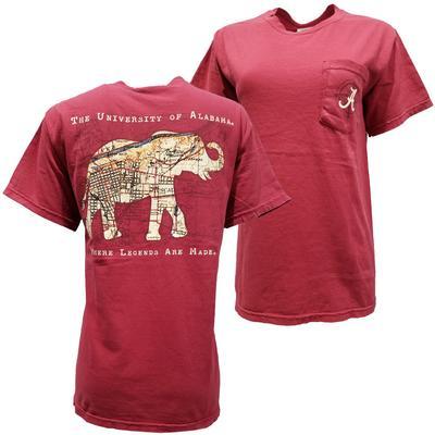 Alabama Elephant Map Comfort Colors Tee