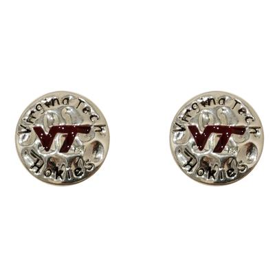 Virginia Tech Hammered Disc Earrings