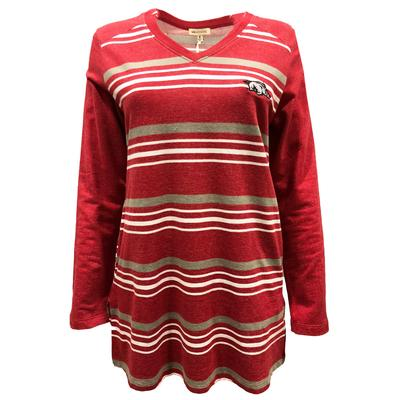 Arkansas UG Apparel Women's Striped Tunic Fleece Top