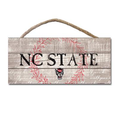 NC State Legacy Laurels Wooden Plank Hanging Sign - 10