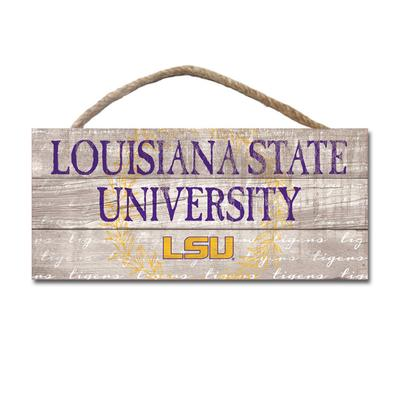 LSU Legacy Laurels Wooden Plank Hanging Sign