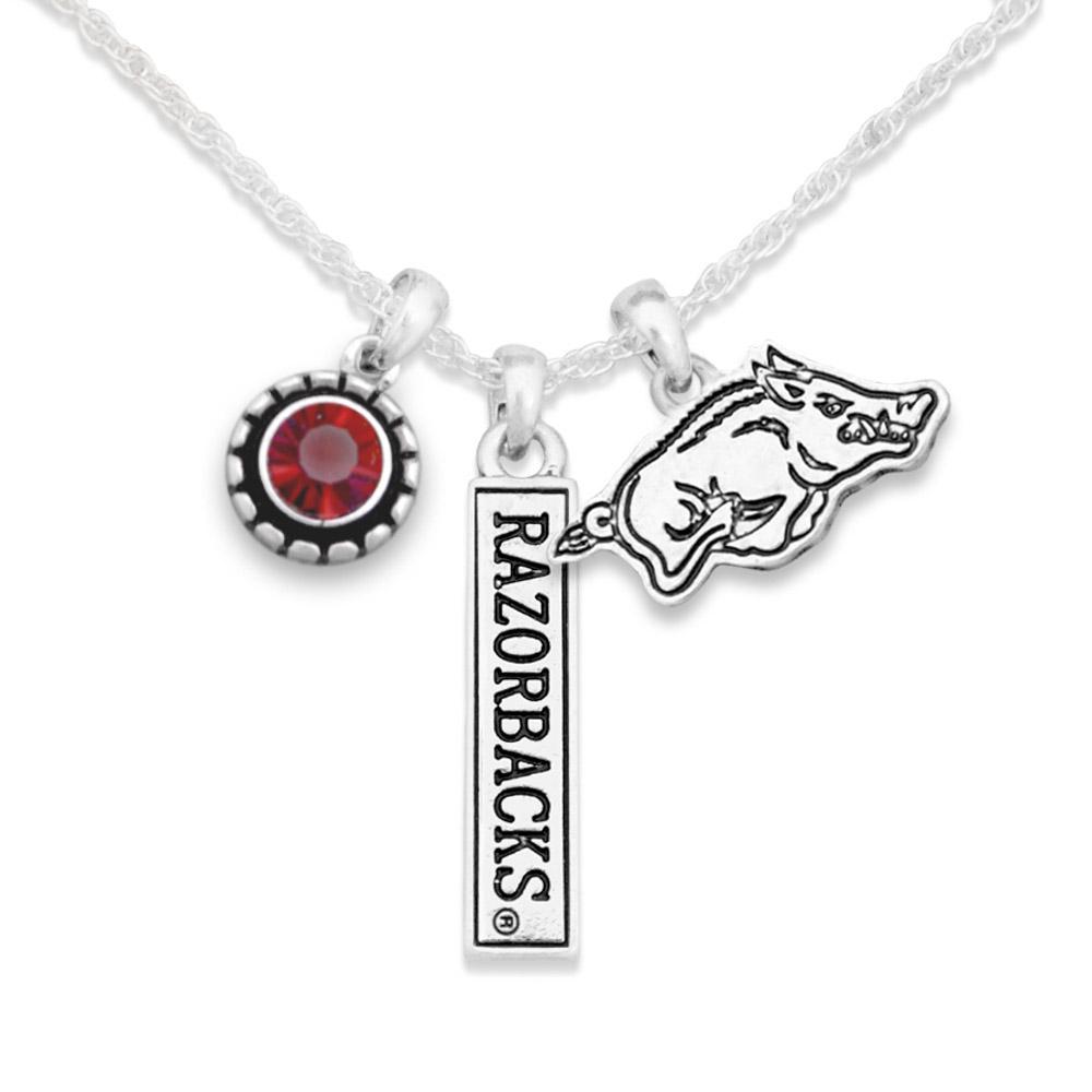 Arkansas Trifecta Antiqued Logo Necklace