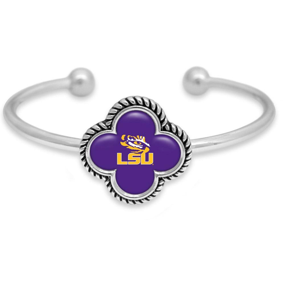 Lsu Quatrefoil Domed Cuff Bracelet