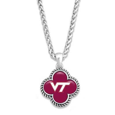 Virginia Tech Quatrefoil Domed Bead Necklace