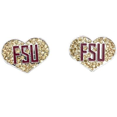Florida State Crystal Heart Infant/Toddler Earrings